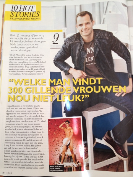 Stripper Kevin in Grazia magazine