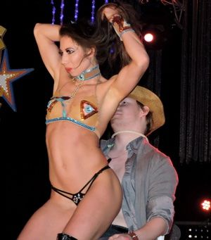 Cowgirl striptease show