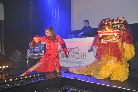 Lion dance duo striptease show