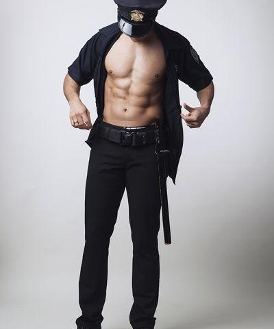 Mannelijke stripper als politie agent